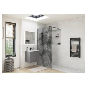 Reflexion Iconix Black Leaf Design Wetroom Panel 1200mm