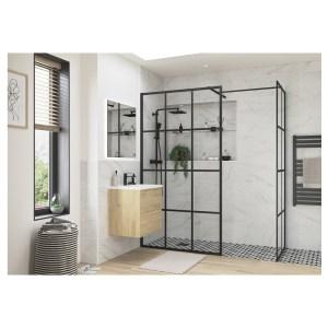 Reflexion Iconix Black Framed Wetroom Side Panel 760mm