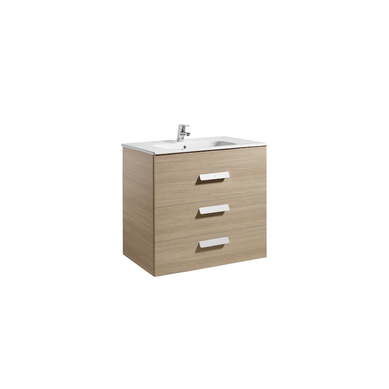 Roca Debba 800mm Base Unit with 3 Drawers & Square Basin Textured Oak