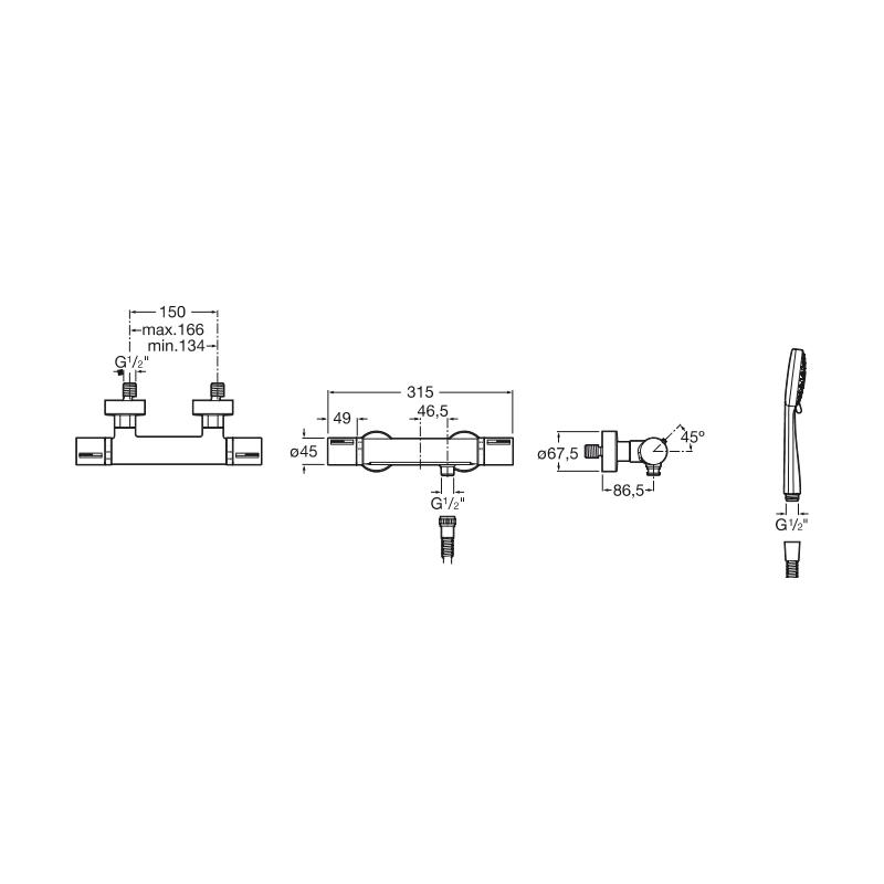 Roca T-1000 Wall Mounted Shower Mixer Chrome