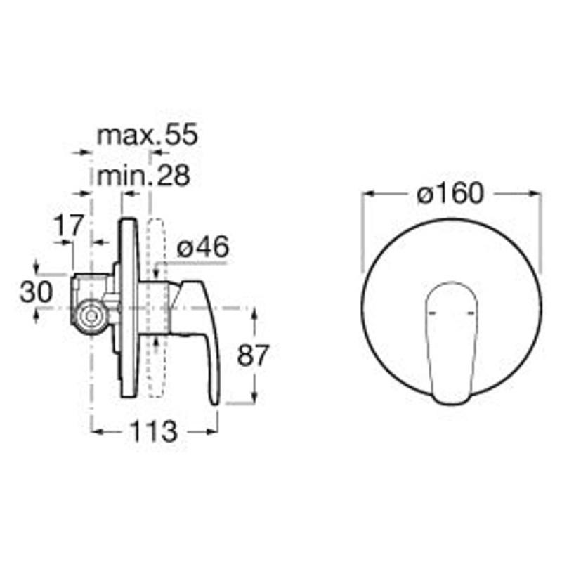 Roca Monodin-N Built-In Bath OR Shower Mixer (1 Outlet)