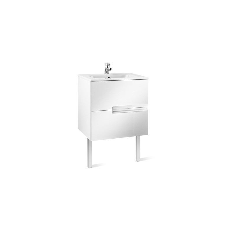 Roca Victoria-N Unik 700mm 2 Drawer Unit & Basin Gloss White