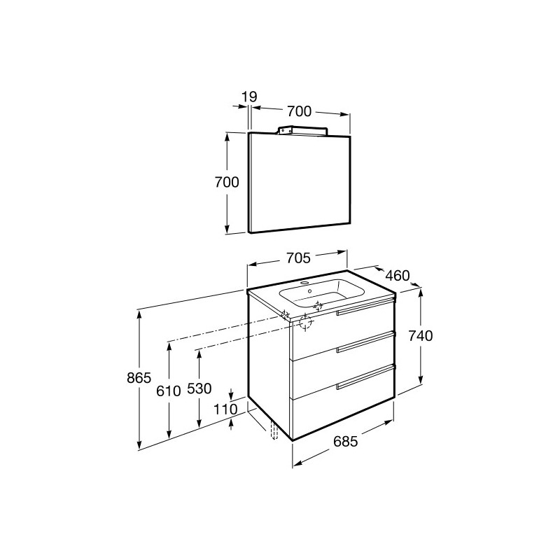Roca Victoria-N Pack 700mm 3 Drawer Unit, Mirror & Light Wenge