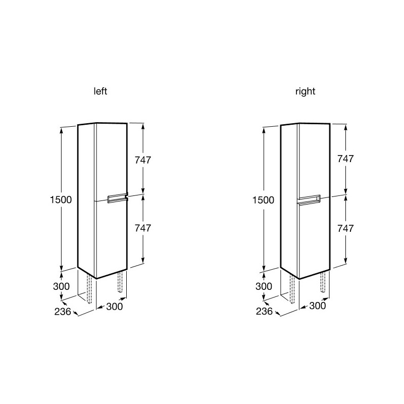Roca Victoria-N Column Unit 300mm Gloss Grey
