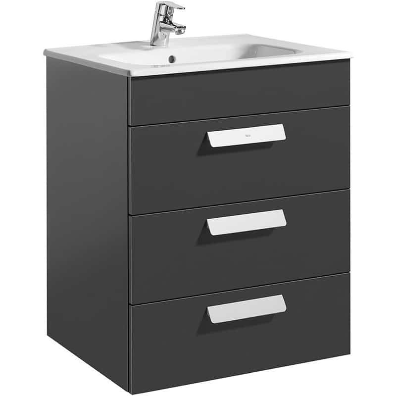 Roca Debba Wall Hung 3 Drawer Basin Unit 60cm Anthracite Grey