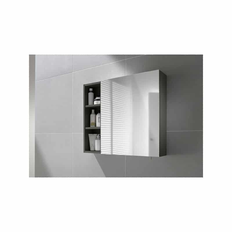 Roca Luna Mirrored Cabinet 400 Gloss Anthracite Grey