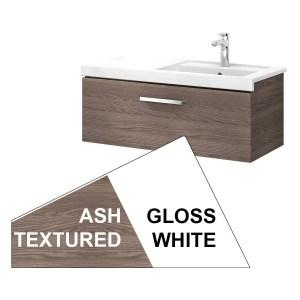 Roca Prisma Wall Hung 1 Drawer Basin Unit 90cm White & Ash