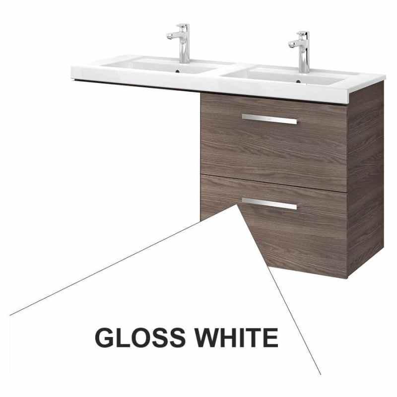 Roca Prisma 2 Drawer Wall Basin Unit 59cm RH Gloss White