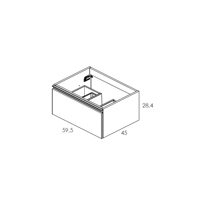 Royo Vida 600mm Gloss White 1 Drawer Wall Unit
