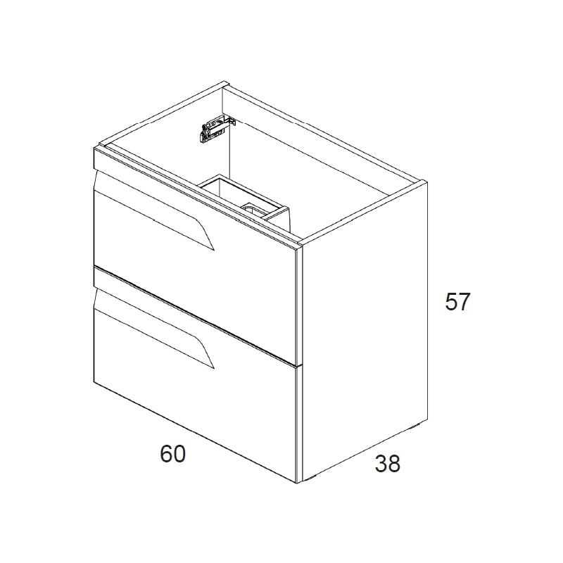 Royo Vitale 600mm Slimline 2 Drawer Wall Unit Light Oak