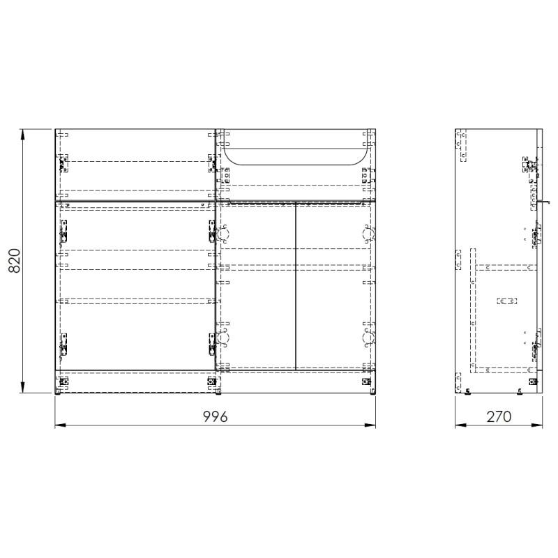 Royo Linea WC Unit & 2 Door Base Unit White Right Hand