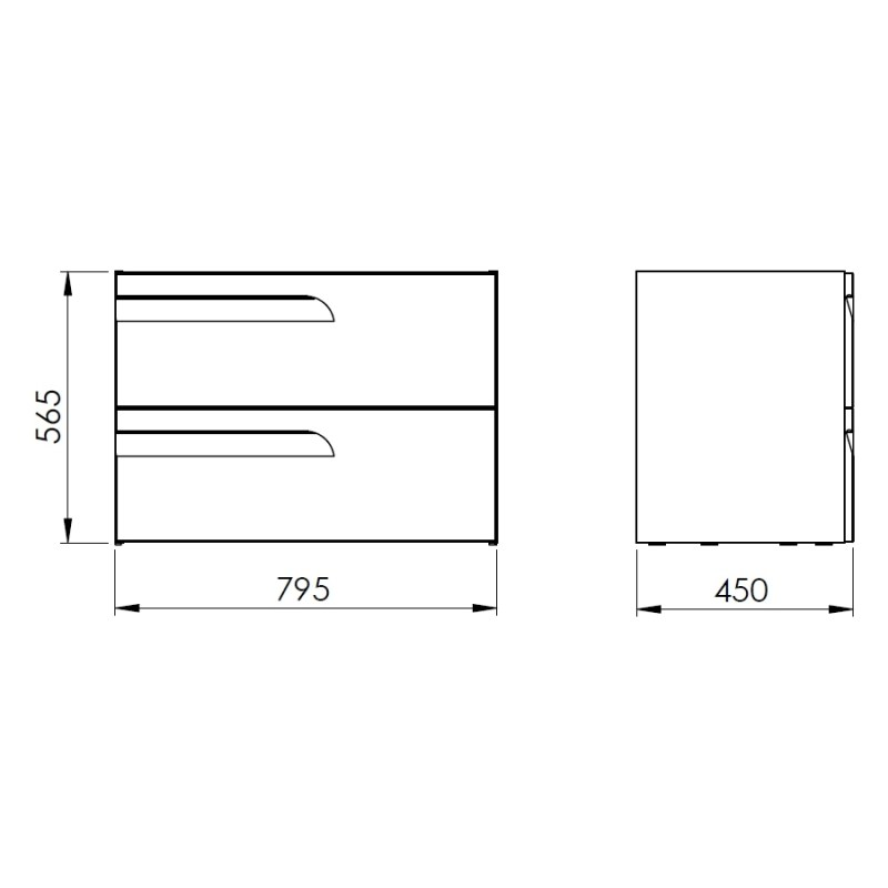 Royo Vitale 800mm 2 Drawer Wall Unit Gloss White