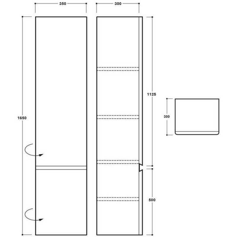 Synergy Linea 1650mm White Tall Cabinet