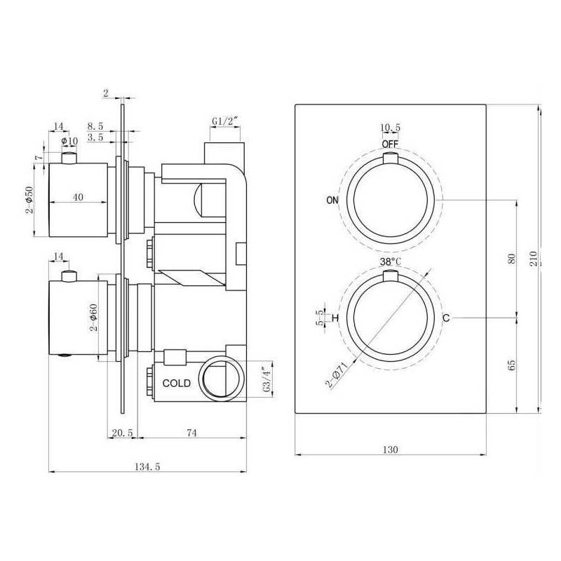 Synergy Twin Round Concealed Chrome Thermostatic Valve