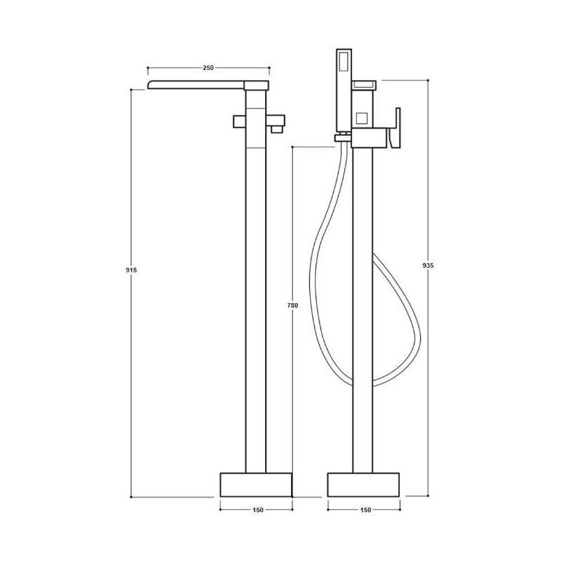 Synergy Tec Studio Z Freestanding Bath Shower Mixer Tap