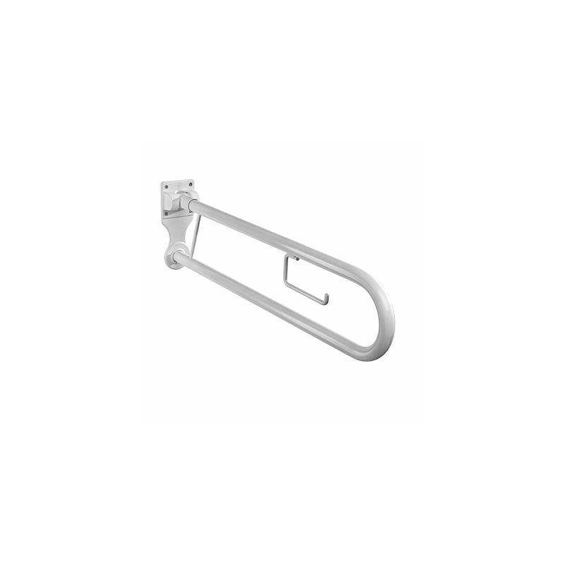 Twyford Avalon Hinged Support Rail with Roll Holder White