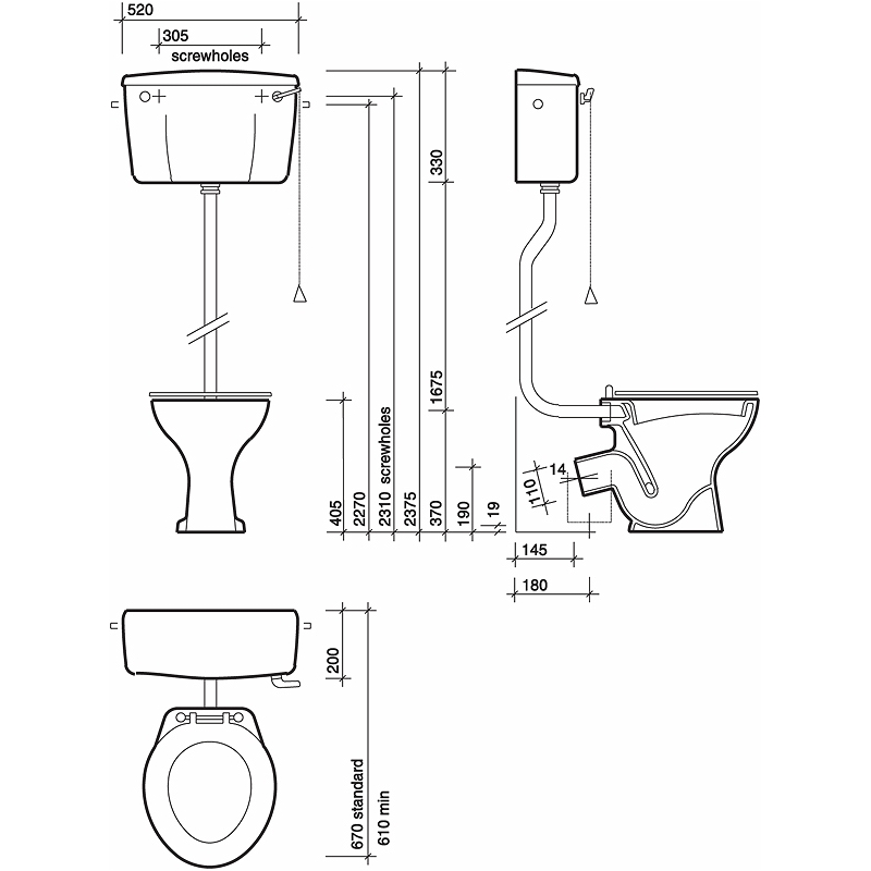 Twyford Classic Standard Toilet High Level, Horizontal Outlet