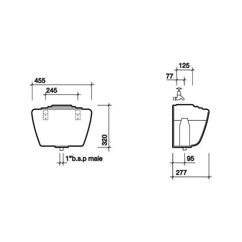 Twyford Ceramic Auto Cistern & Fittings 9L