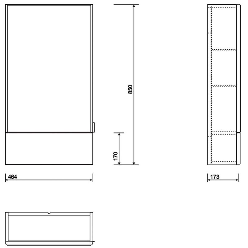 Twyford E100 Mirror Cabinet 550mm White