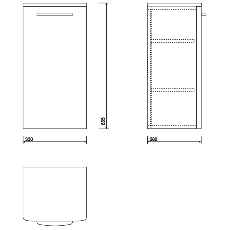 Twyford E100 Side Cabinet Small White