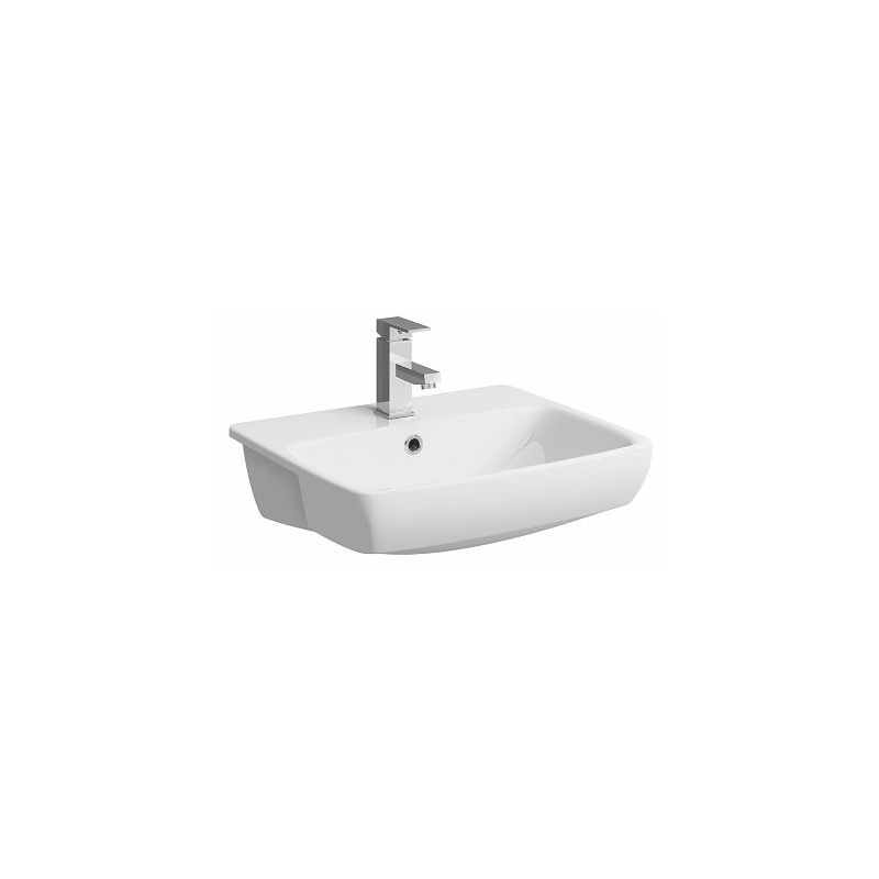 Twyford E100 Square 550mm 1 Taphole Semi Recessed Basin