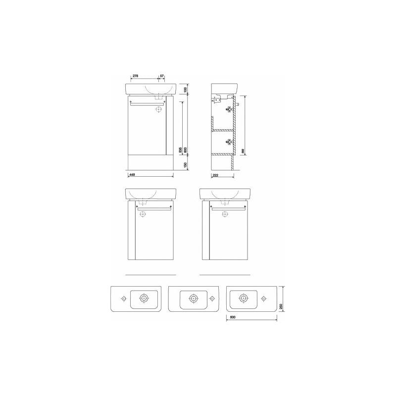 Twyford E200 Plinth for 500x250 Handrinse Unit Grey