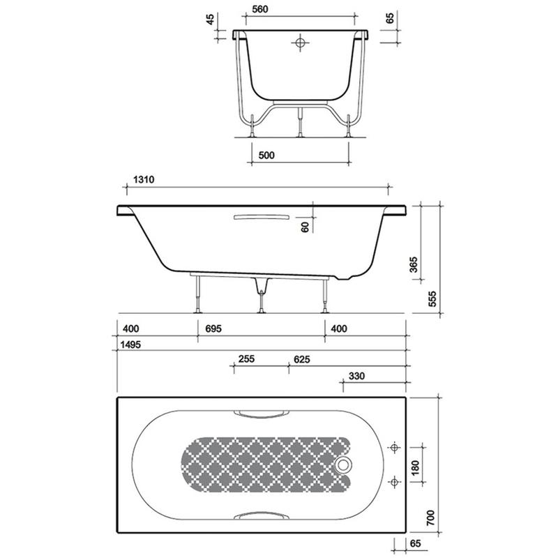 Twyford Opal 1500x700mm Bath 2 Tap Holes Twin Grips Anti Slip