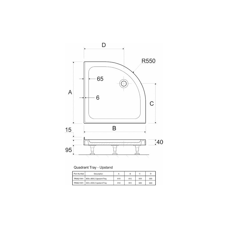 Twyford Shower Tray 800x800 Quadrant Upstand