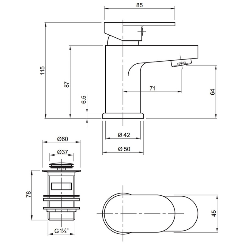 Twyford X70 Mini Mono Basin Mixer with Waste