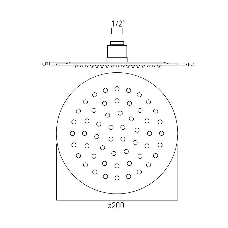 Vado Aquablade Round Slimline Shower Head 200mm