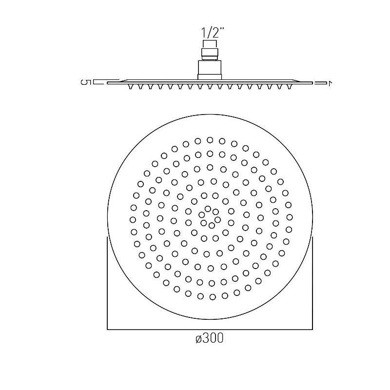 Vado Aquablade Round Slimline Shower Head 300mm