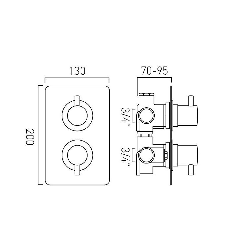 Vado Celsius 2 Outlet 2 Handle Thermostatic Valve