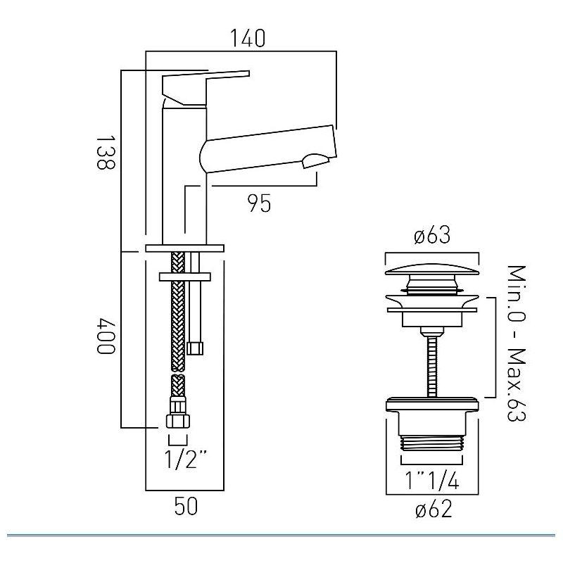 Vado Sense Mini Mono Basin Mixer with Universal Waste