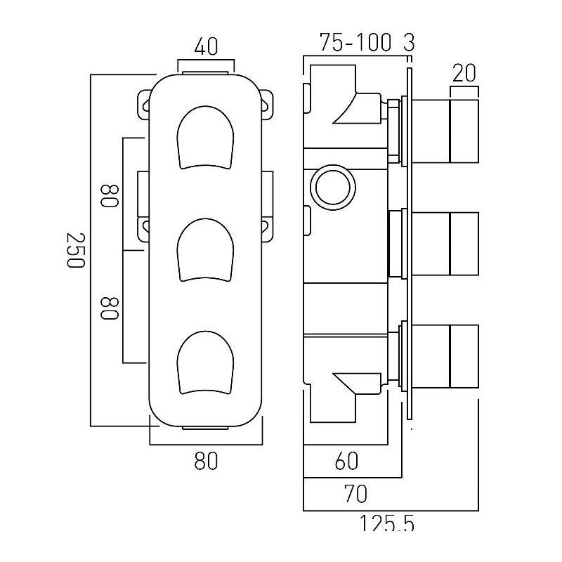 Vado Kovera 2 Outlet, 3 Handle Thermostatic Shower Valve