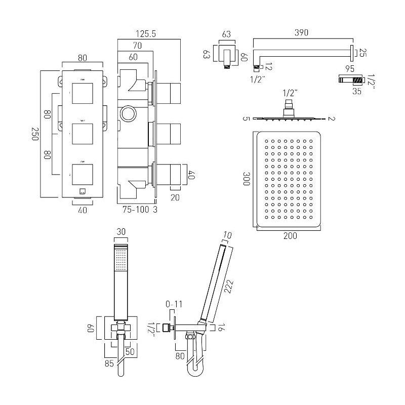 Vado Notion 2 Outlet Thermostatic Shower Set