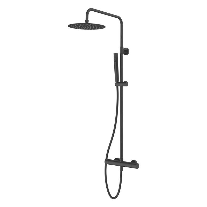 Vema Thermostatic Shower with Fixed Head & Riser Matt Black