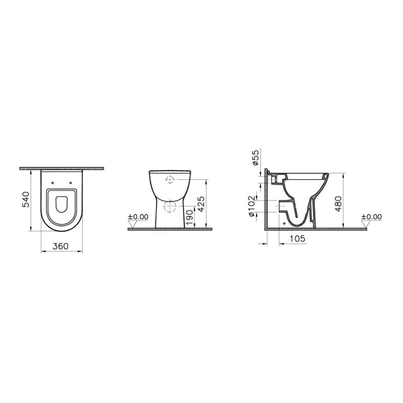 Vitra S50 Comfort Height Back To Wall Toilet with Standard Seat