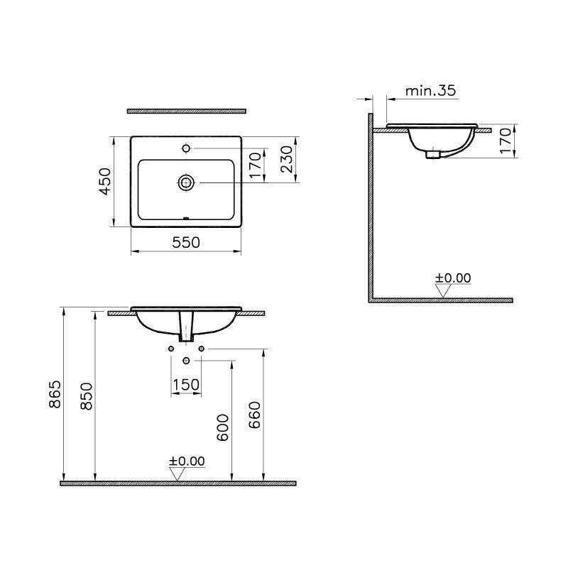 Vitra S20 Compact Countertop Basin 55cm Square 1 Taphole