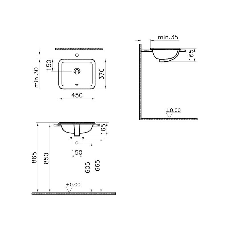 Vitra S20 Compact Countertop Basin 45cm Square No Taphole