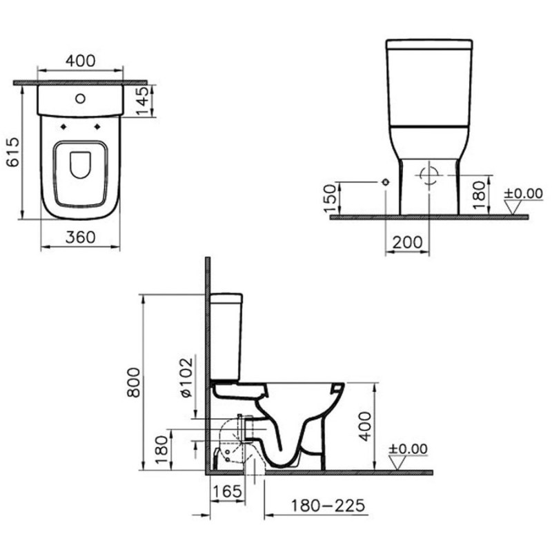 Vitra S20 Close-Coupled Fully Back To Wall Pan White