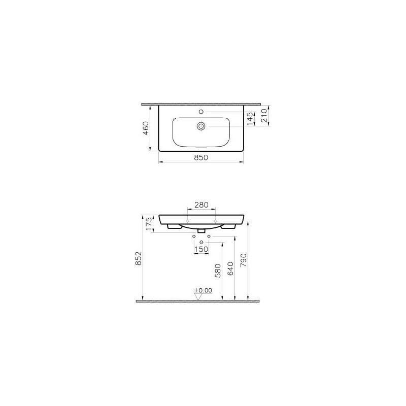 Vitra S20 Vanity Basin 80cm 1 Taphole