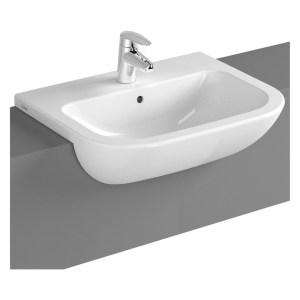 Vitra S20 Semi Recessed Basin 55cm 2 Tapholes White