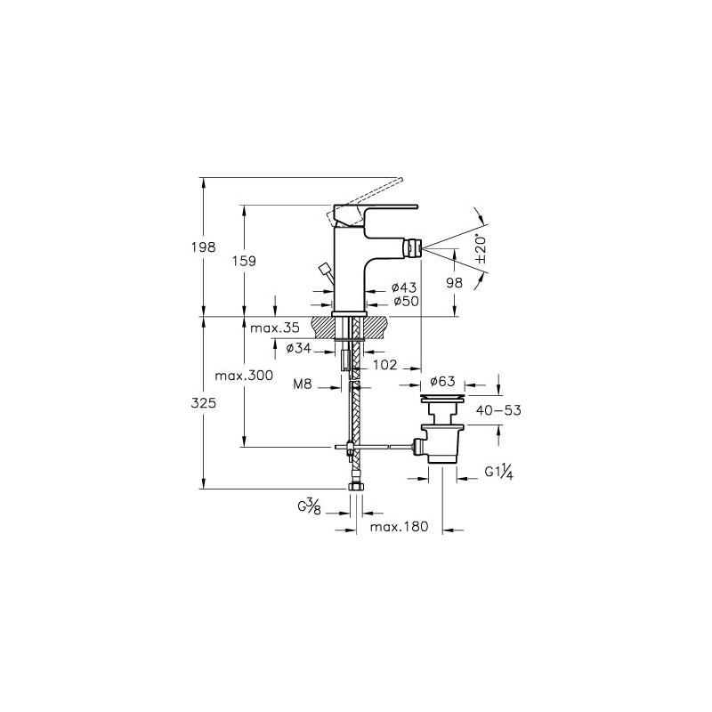 Vitra Q-Line Bidet Mixer