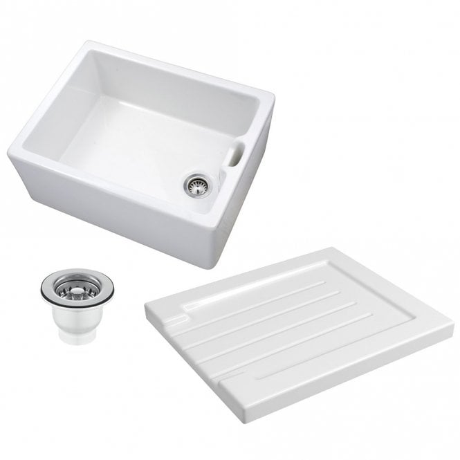 ceramic kitchen sink outdoor doors astini belfast 100 1 0 bowl white drainer strainer waste