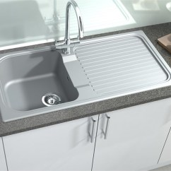 Gray Kitchen Sink Free Standing Units Comparing The Different Shades Of Grey And Black Granite Astracast Concrete