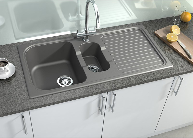 gray kitchen sink navy cabinets comparing the different shades of grey and black granite astracast graphite