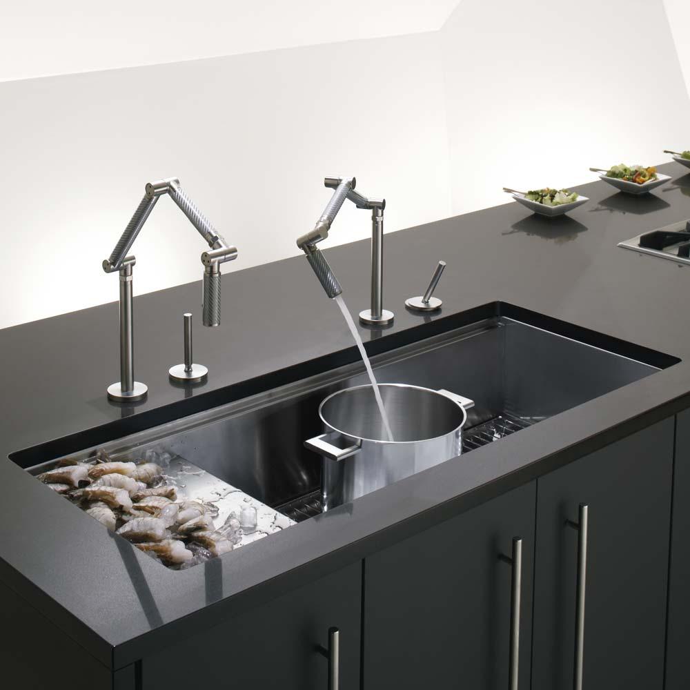 kitchen drainer basket undermount corner sink kohler stages single bowl brushed stainless steel ...