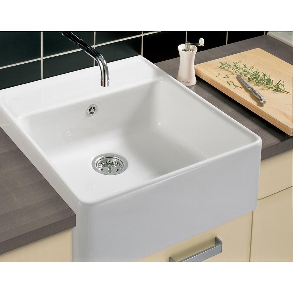 apron kitchen sinks serrated knife villeroy & boch butler 60 white ceramic plus single bowl ...