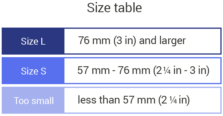 Your hand must measure 3 inches or in width larger for Tap Large size to feel comfortable Your hand must measure 2.25 inches to 3 inches in width for Tap Small size to feel comfortable If your hands width is less than 2.25 inches then your hand is too small to fit in a Tap strap