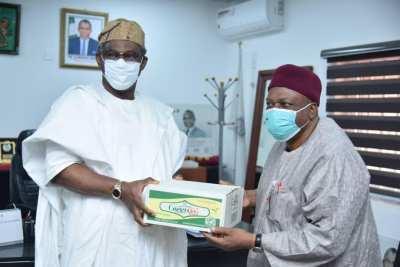 Gov. Ishaku visits the Minister of Mines and Steel Development, Arc. Olamilekan Adegbite.
